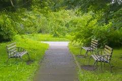 Διαδρομή και πάγκοι στο πάρκο Στοκ Εικόνες