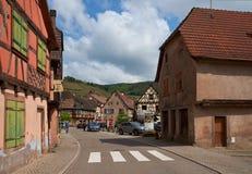 Διαδρομή κρασιού ταξιδιού στη Γαλλία Λα route des vins Στοκ Φωτογραφία