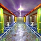 Διαδρομή νερού στην αίθουσα με τις στήλες Στοκ Φωτογραφίες