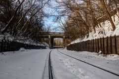 Διαδρομή σιδηροδρόμου τη χειμερινή ημέρα Στοκ Φωτογραφία