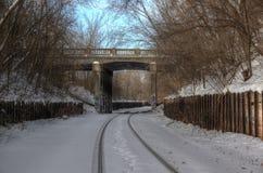 Διαδρομή σιδηροδρόμου το χειμώνα Στοκ Εικόνα