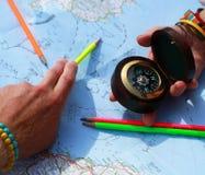 Διαδρομή στο χάρτη στοκ εικόνα με δικαίωμα ελεύθερης χρήσης