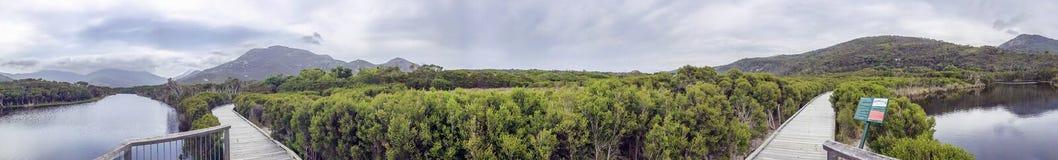 Διαδρομή τουαλέτα-Errn και παλιρροιακός ποταμός στον ακρωτήριο Wilsons, πανοραμικό στοκ φωτογραφία