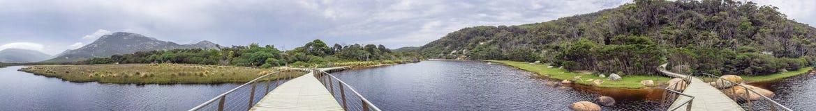 Διαδρομή τουαλέτα-Errn και παλιρροιακός ποταμός στον ακρωτήριο Wilsons, πανοραμικό στοκ εικόνα με δικαίωμα ελεύθερης χρήσης