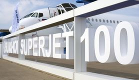 Διεθνές αεροδιαστημικό σαλόνι MAKS sukhoi 100 superjet Στοκ εικόνα με δικαίωμα ελεύθερης χρήσης