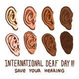 Διεθνές κωφό σύνολο εικονιδίων ημέρας, συρμένο χέρι ύφος διανυσματική απεικόνιση