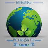 Διεθνές υπόβαθρο ημέρας βιοποικιλότητας με τη σφαίρα και τα φύλλα απεικόνιση αποθεμάτων