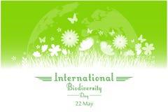Διεθνές υπόβαθρο ημέρας βιοποικιλότητας με το λουλούδι, τις πεταλούδες και τη σκιαγραφία χλόης απεικόνιση αποθεμάτων