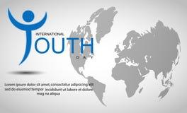 Διεθνές υπόβαθρο ημέρας νεολαίας με τον παγκόσμιο χάρτη Στοκ Εικόνες