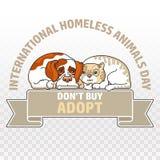 Διεθνής άστεγη ημέρα ζώων Γάτα και σκυλί διάνυσμα Στοκ εικόνες με δικαίωμα ελεύθερης χρήσης