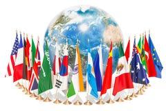 Διεθνής έννοια παγκόσμιων επικοινωνιών με τις σημαίες γύρω από διανυσματική απεικόνιση