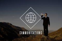 Διεθνής έννοια παγκόσμιων επιχειρήσεων επικοινωνιών σφαιρική Στοκ Φωτογραφία