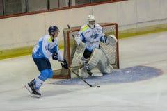 Διεθνής αντιστοιχία πρωταθλήματος χόκεϊ IHL μεταξύ HC Vojvoidna Νόβι Σαντ και HC Triglav Kranj Στοκ φωτογραφία με δικαίωμα ελεύθερης χρήσης