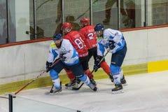 Διεθνής αντιστοιχία πρωταθλήματος χόκεϊ IHL μεταξύ HC Vojvoidna Νόβι Σαντ και HC Triglav Kranj Στοκ Εικόνες