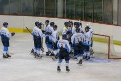 Διεθνής αντιστοιχία πρωταθλήματος χόκεϊ IHL μεταξύ Vojvodina Νόβι Σαντ και HC Triglav Kranj HC Στοκ εικόνα με δικαίωμα ελεύθερης χρήσης