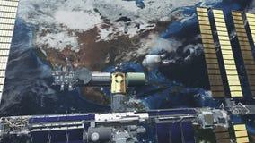 Διεθνής Διαστημικός Σταθμός με τις μύγες ηλιακών κυττάρων πέρα από τη γη διανυσματική απεικόνιση