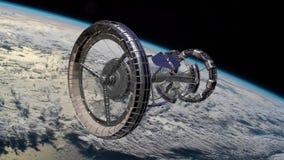 Διεθνής Διαστημικός Σταθμός ISS του Sci Fi που περιστρέφεται πέρα από τη γήινη ατμόσφαιρα Διαστημικός σταθμός που βάζει τη σκηνή  απόθεμα βίντεο