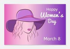 Διεθνής ευχετήρια κάρτα ημέρας γυναικών σκιαγραφία Στοκ Εικόνες