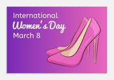 Διεθνής ευχετήρια κάρτα ημέρας γυναικών όμορφο θηλυκό Στοκ Φωτογραφία
