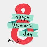 Διεθνής ευχετήρια κάρτα ημέρας γυναικών ` s 8 Μαρτίου χαριτωμένη κάρτα σχεδίου Στοκ φωτογραφία με δικαίωμα ελεύθερης χρήσης