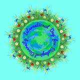 Διεθνής ημέρα για τη βιολογική ποικιλομορφία λευκό γήινων πλανητών ανασ& διανυσματική απεικόνιση