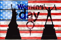 Διεθνής ημέρα γυναικών ` s Σκιαγραφία κοριτσιών απεικόνιση αποθεμάτων