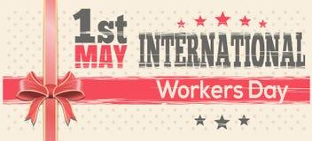 Διεθνής ημέρα εργαζομένων 1 Μαΐου σχέδιο αναδρομικό Στοκ Εικόνα