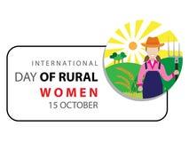 Διεθνής ημέρα του αγροτικού υποβάθρου γυναικών διανυσματική απεικόνιση