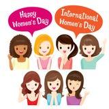 Διεθνής ημέρα Women's, ομάδα γυναικών με τα διάφορα έθνη Στοκ φωτογραφία με δικαίωμα ελεύθερης χρήσης