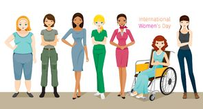 Διεθνής ημέρα Women's, ομάδα γυναικών με τα διάφορα έθνη Στοκ Εικόνες