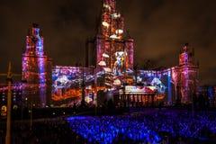Διεθνής κύκλος φεστιβάλ της Μόσχας του φωτός η τρισδιάστατη χαρτογράφηση παρουσιάζει στο κρατικό πανεπιστήμιο της Μόσχας Στοκ Εικόνα