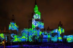 Διεθνής κύκλος φεστιβάλ της Μόσχας του φωτός η τρισδιάστατη χαρτογράφηση παρουσιάζει στο κρατικό πανεπιστήμιο της Μόσχας Στοκ εικόνα με δικαίωμα ελεύθερης χρήσης