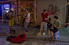 Διεθνής παίζοντας μουσική Buskers οδών στο Sanjak στοκ εικόνες