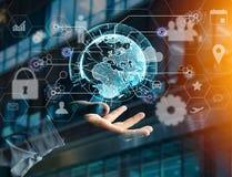 Διεθνής σύνδεση επιχειρησιακών δικτύων που επιδεικνύεται τα futuris Στοκ φωτογραφία με δικαίωμα ελεύθερης χρήσης
