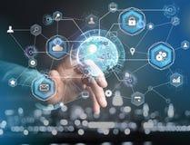 Διεθνής σύνδεση επιχειρησιακών δικτύων που επιδεικνύεται τα futuris Στοκ Φωτογραφία