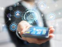 Διεθνής σύνδεση επιχειρησιακών δικτύων που επιδεικνύεται τα futuris Στοκ εικόνες με δικαίωμα ελεύθερης χρήσης