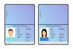 Διεθνή αρσενικά και θηλυκά διαβατήρια κινούμενων σχεδίων καθορισμένα διάνυσμα Στοκ εικόνα με δικαίωμα ελεύθερης χρήσης