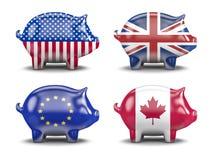 Διεθνείς piggy τράπεζες Στοκ Φωτογραφίες