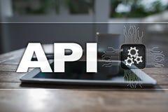 Διεπαφή προγραμματισμού εφαρμογής API Έννοια ανάπτυξης λογισμικού Στοκ Εικόνες