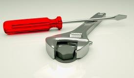 Διευθετήσιμο κλειδί που σφίγγει ένα μπουλόνι Στοκ εικόνα με δικαίωμα ελεύθερης χρήσης