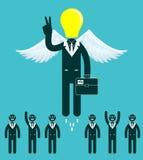 Διευθυνμένοι λάμπα φωτός επιχειρηματίες στο κέντρο μιας ομάδας ανθρώπων Στοκ Εικόνα