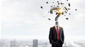 Διευθυνμένος ερώτηση επιχειρηματίας Μικτά μέσα Στοκ Εικόνες
