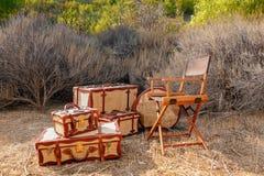 Διευθυντές Chair στο σαφάρι στοκ εικόνες