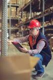 Διευθυντής στην αποθήκη εμπορευμάτων Χονδρικός, λογιστικός, άνθρωποι και έννοια εξαγωγής στοκ εικόνες