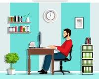 Διευθυντής στο γραφείο Το διανυσματικό επίπεδο ύφος έθεσε: εργασία ατόμων στην αρχή, καθμένος στο γραφείο, που εξετάζει τη οθόνη  Στοκ Φωτογραφίες