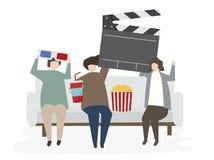 Διευκρινισμένοι φίλοι που προσέχουν έναν κινηματογράφο απεικόνιση αποθεμάτων