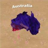 Διευκρινισμένος διάνυσμα χάρτης της Αυστραλίας Στοκ Εικόνα