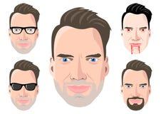 Διευκρινισμένος πέντε πρόσωπα ατόμων ` s διανυσματική απεικόνιση