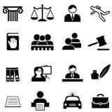Δικαιοσύνη, νομικός, νόμος και σύνολο εικονιδίων δικηγόρων απεικόνιση αποθεμάτων