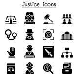 Δικαιοσύνη, νόμος, δικαστήριο, νομικό σύνολο εικονιδίων διανυσματική απεικόνιση